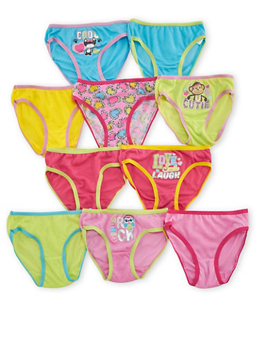 Girls 4-14 Assorted Panties 10 Pack,MULTI COLOR,large