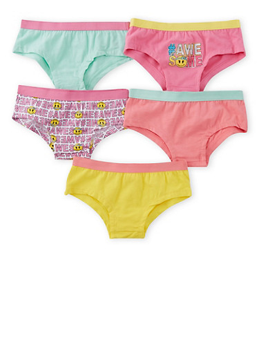 Girls 4-16 Pack of 5 Assorted Panties,MULTI COLOR,large