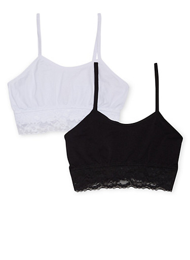 Girls 4-16 Two Pack of Lace Trimmed Cami Bras,BLACK,large