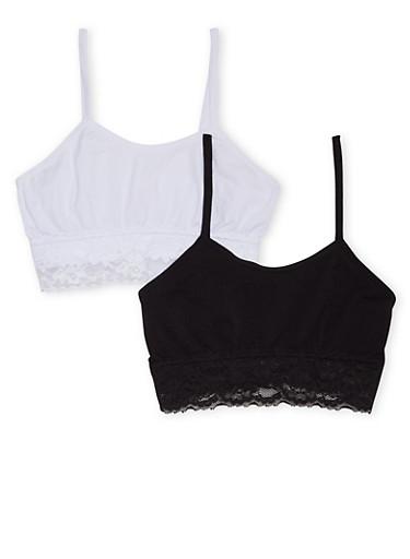 Girls 4-16 Lace Trimmed Cami Bra Set,BLACK,large