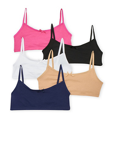Girls 4-16 Pack of 5 Assorted Cami Bras,MULTI COLOR,large