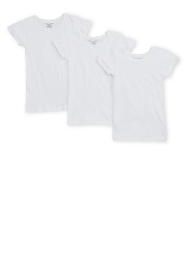 Girls 4-16 Short Sleeve Cotton T Shirts Set of 3,WHITE,large