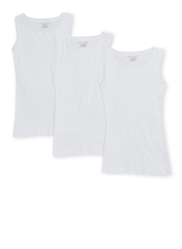Girls 4-16 Cotton Tank Top Set of 3,WHITE,large