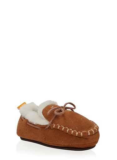 Baby Boy Moccasins in Faux Shearling,COGNAC,large