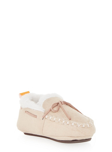 Baby Girl Moccasins with Faux Fur,TAN,large