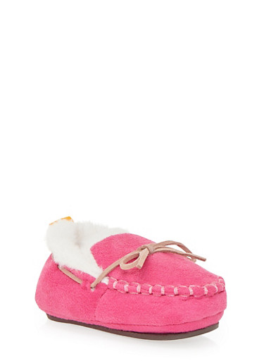 Baby Girl Moccasins with Faux Fur,PINK,large