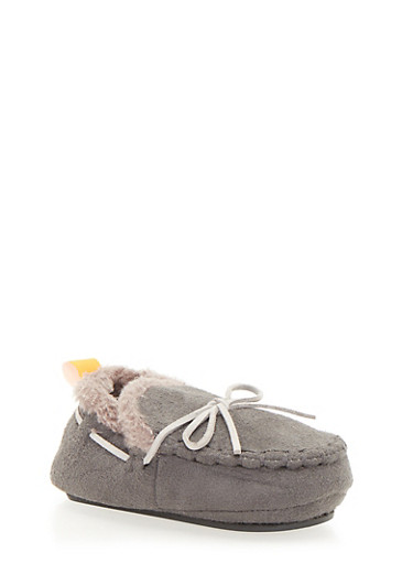 Baby Girl Moccasins with Faux Fur,GREY,large