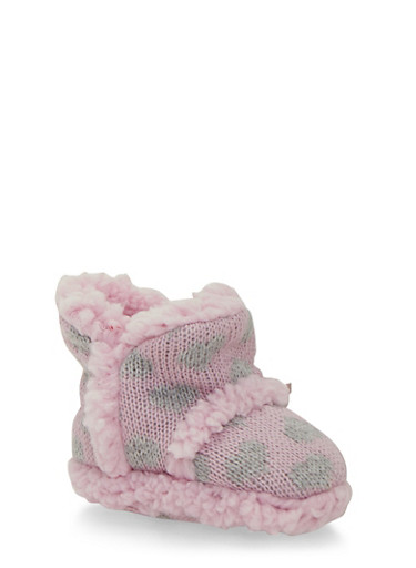 Baby Girl Knit Booties in Heart Pattern,PINK,large
