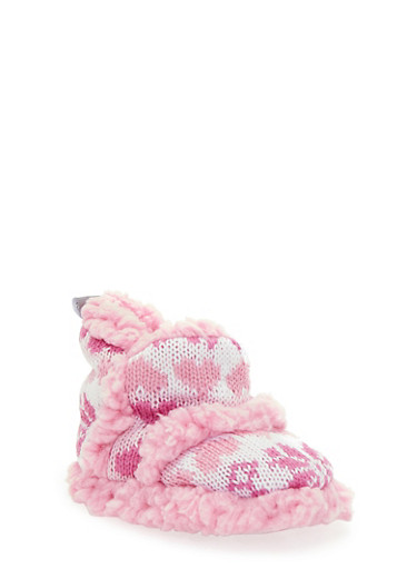 Baby Girl Knitted Booties with Snowflake Design,PINK,large