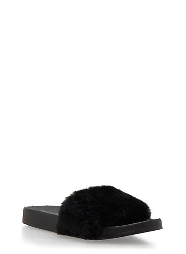 Girls 12-4 Faux Fur Slides,BLACK,large