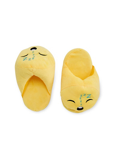 Girls 11-4 Emoji Slippers,BLACK,large