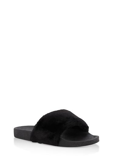 Girls 10-4 Faux Fur Slides,BLACK,large