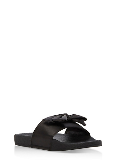 Girls 10-4 Satin Bow Slides,BLACK,large