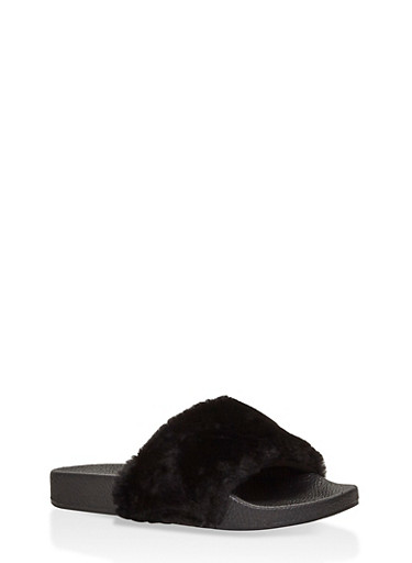 Girls 10-4 Faux Fur Slides,BLACK,large
