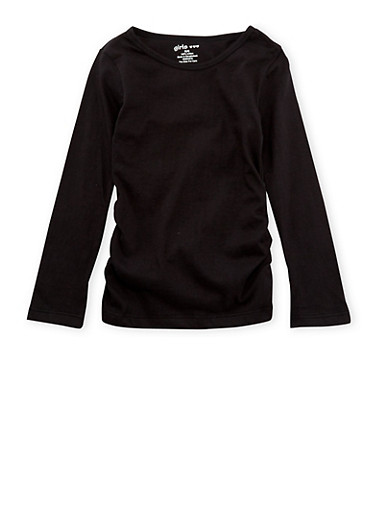 Girls 4-6x Top with Ruched Sides,BLACK,large