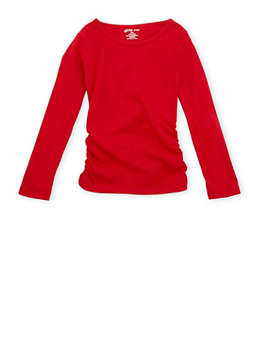 Girls 4-6x Long Sleeve Top with Ruched Sides,RED,large