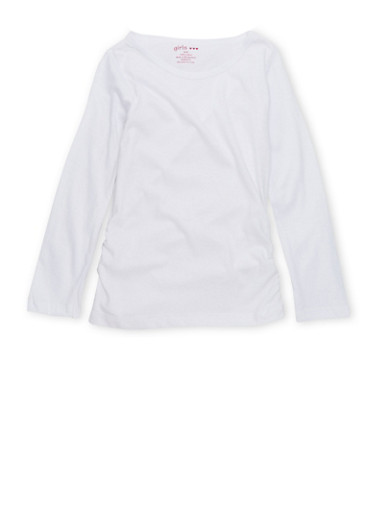 Girls 4-6x Long Sleeve Top with Ruched Sides,WHITE,large