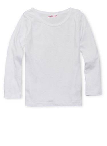 Girls 4-6x White Crew Neck Top with Long Sleeves,WHITE,large