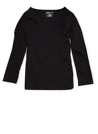 Girls 4-6x Long Sleeve Top in Black,BLACK,large
