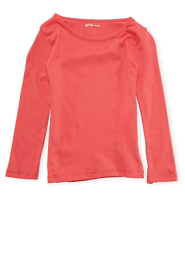 Girls 4-6x Long Sleeve Top in Coral,CORAL,large