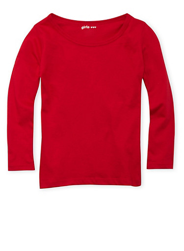 Girls 4-6x Red Crew Neck Top with Long Sleeves,RED,large