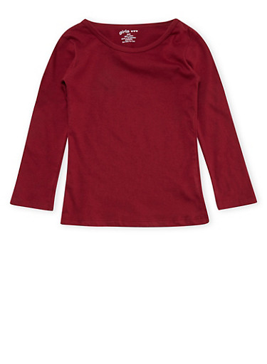 Girls 4-6x Maroon Long Sleeve Shirt,BURGUNDY,large