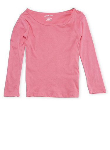 Girls 4-6x Pink Long Sleeve Shirt,PINK,large