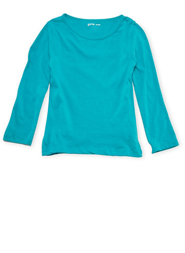 Girls 4-6x Long Sleeve Top in Jade Green,JADE,large