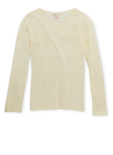 Girls 4-6x Crew Neck Top with Long Sleeves,IVORY,large