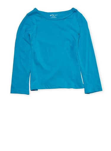 Girls 4-6x Aqua Top with Long Sleeves,AQUA,large