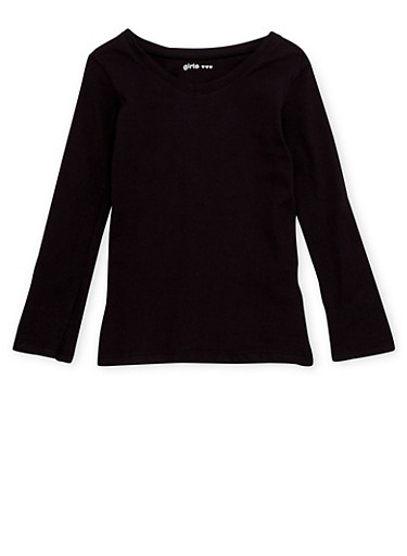 Girls 4-6x Long Sleeve Top with V Neck,BLACK,large