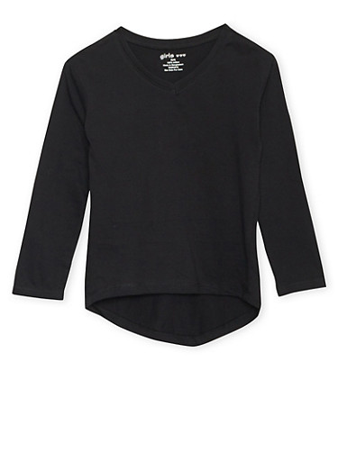 Girls 4-6x Long Sleeve Top with High Low Hem,BLACK,large