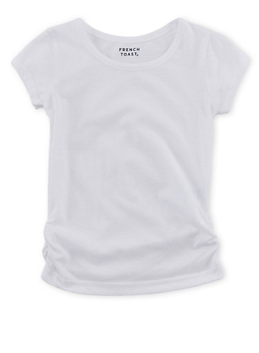 Girls 4-6x French Toast Short Sleeve Crew Neck Tee with Ruched Sides,WHITE,large
