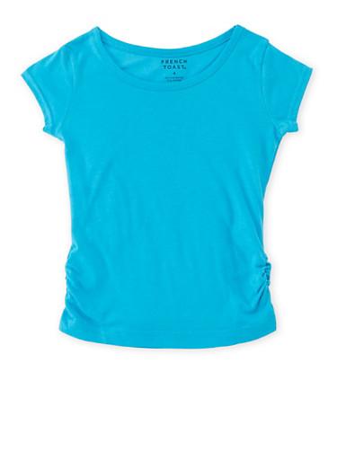 Girls 4-6x French Toast Short Sleeve Tee,BLUE,large