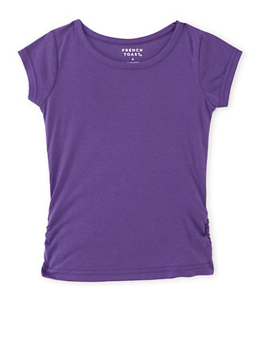 Girls 4-6x French Toast Tee with Ruched Sides,PURPLE,large