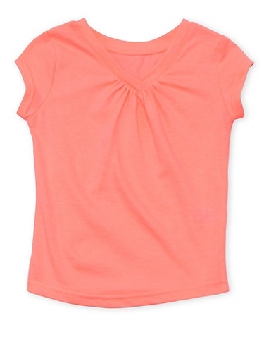 Girls 4-6x French Toast Neon Pink Shirred V Neck T Shirt,NEON PINK,large