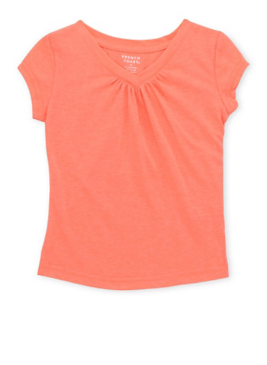 Girls 4-6x French Toast Coral V Neck T Shirt,CORAL,large
