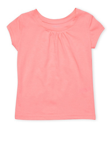 Girls 4-6x French Toast Neon Pink Shirred T Shirt,NEON PINK,large