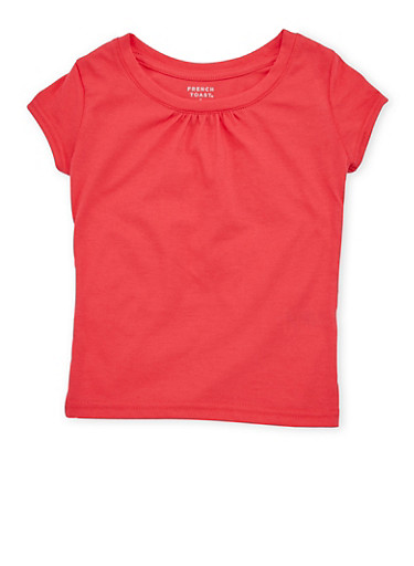 Girls 4-6x French Toast Shirred Coral T Shirt,CORAL,large