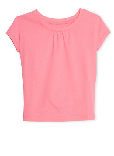 Girls 4-6X French Toast Short Sleeve Crew Neck T Shirt,NEON PINK,large