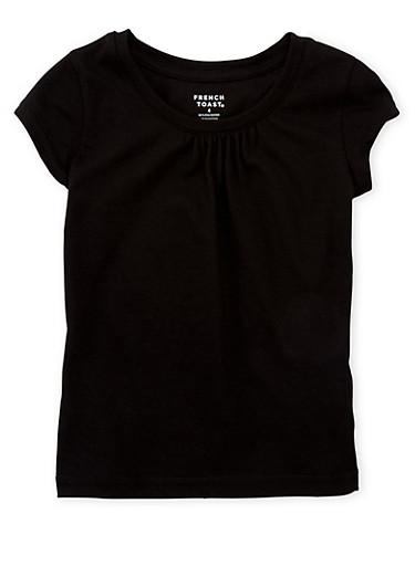 Girls 4-6x French Toast Black Shirred T Shirt,BLACK,large