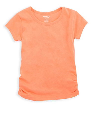 Girls 4-6x French Toast Crew Neck Top with Ruched Detail,ORANGE,large
