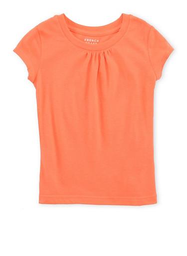 Girls 4-6x French Toast Orange Shirred T Shirt,ORANGE,large