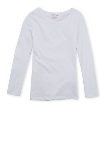 Girls 7-16 Long-Sleeve Top with Crew Neck,WHITE,large