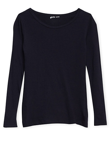 Girls 7-16 Solid Long-Sleeve Top with Crew Neck,BLACK,large