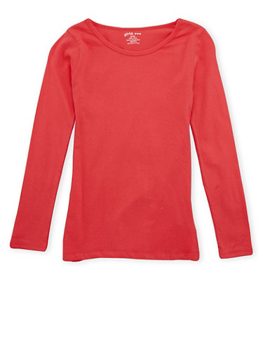 Girls 7-16 Long-Sleeve Top with Crew Neck,CORAL,large