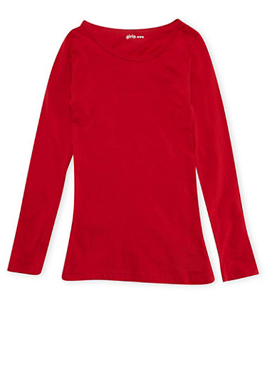 Girls 7-16 Red Crew Neck Shirt,RED,large