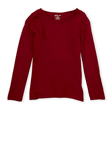 Girls 7-16 Long-Sleeve Top with Crew Neck,BURGUNDY,large