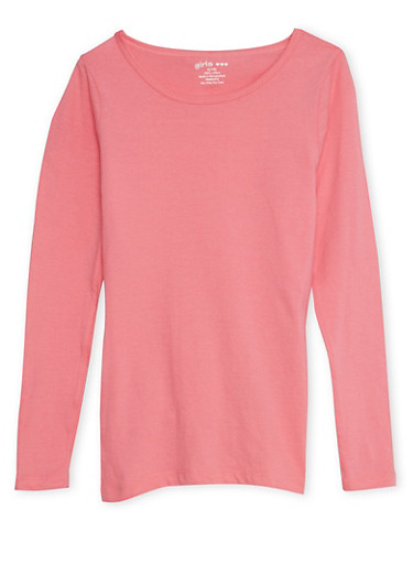 Girls 7-16 Pink Crew Neck Top with Long Sleeves,PINK,large