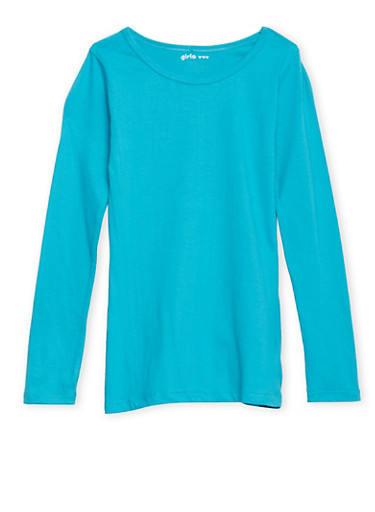 Girls 7-16 Solid Long-Sleeve Top with Crew Neck,JADE,large